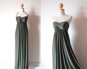 Elegant Olive Green Evening Dress