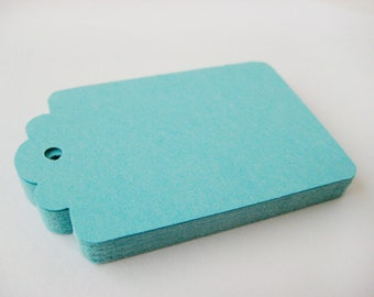 50 SEA GREEN Hang Tag, Gift Tag, Price Tag Die cuts punches cardstock 2.25X1.5 inch -Scrapbook, cards