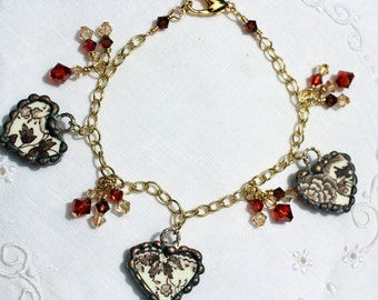 Bracelet, Broken China Jewelry, Broken China Bracelet, China Heart Charms, Brown Transferware, Gold Plated Bracelet
