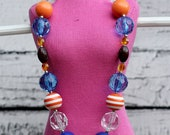 Chunky Beaded Necklace - Children's.  Orange, Blue, Clear, and Footballs