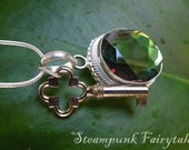 Luminous Green Jewel Necklace Silver Antique Key Christmas - Reflects a Rainbow of Colors