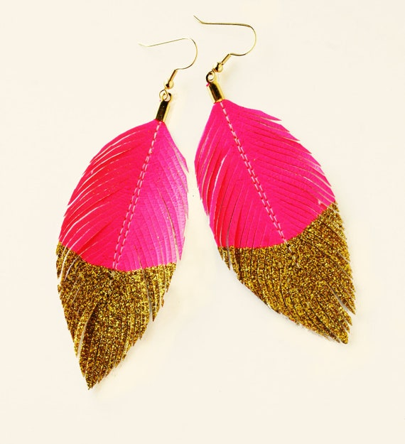 Featured In BUST Magazine -- Neon Pink Gold Glitter Dipped - Faux Leather Feather Earrings - Surgical Steel Available