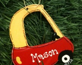 Cozy coupe personalized ornament package tie party favor Christmas Birthday car buggy handmade 2016