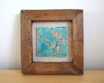 Cherry blossom tile vintage Hungarian linen  handmade reclaimed rustic wood frame MADE TO ORDER