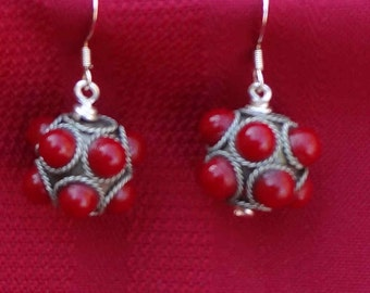 Tibetian Silver and Red Glass Wire Wrapped Earrings