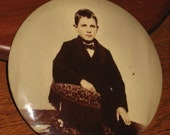Antique Celluloid Photo Of Young Boy Circa 1890-1900