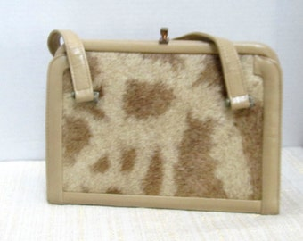 Cowhide and Naugahyde  Rectangular Shaped Two Toned Purse   c1950's