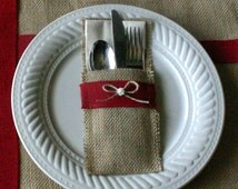 Burlap Country Christmas table décor, 8 set gift pack.