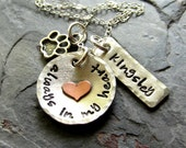 Personalized Hand Stamped Dog Lover Necklace-Sterling Silver Dog Necklace