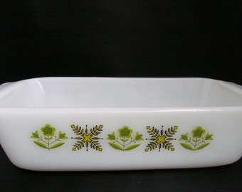 Anchor Hocking Fire King Meadow Green White Glass Loaf Pan Casserole Dish