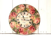 Custom made Large Wall Clock Red Roses Country Decor Shabby Chic Vintage Style Clock