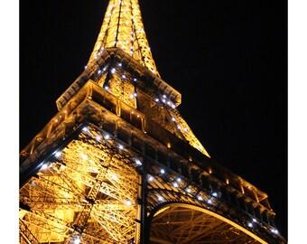 Eiffel Tower Midnight Sparkle Photo Print