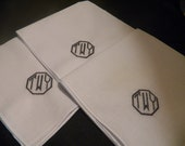 Personalized Mens Monogram Handkerchief Wedding  Set of 3
