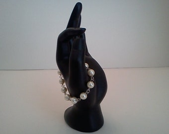 Dangle Earrings Pearl Bracelet Silver Accented White Glass Free US Shipping