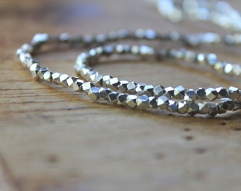 "Batang Bright Silver Tiny Cornerless Cube Beads (24"" stand) - Silver Plated 2.5mm Spacers  - Economical Alternative for Hill Tribe Silver"