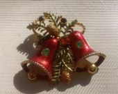 STORE WIDE SALE black friday starts early--Vintage Christmas Brooch-gold platted, rhinestones Great Stocking Stuffer