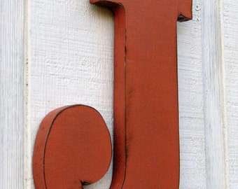 """3 D Wooden Large Letter J Distressed inTerra Cotta 12"""" Rustic  Distressed inTerra Cotta12"""" tall Custom Made pick any color you want"""