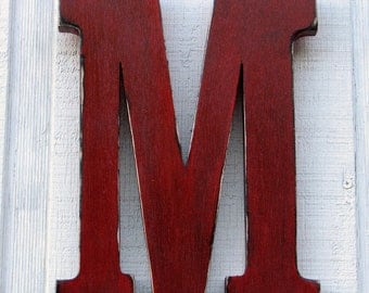 "Rustic Wooden Letter M Distressed True Red,12"" tall Wood Name Letters Nursery Decor, Kids Room You Pick Color"