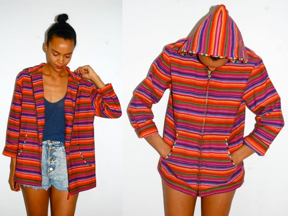 Vtg Colorful Tropical Stripes Zip Up Hooded Jacket w Pockets