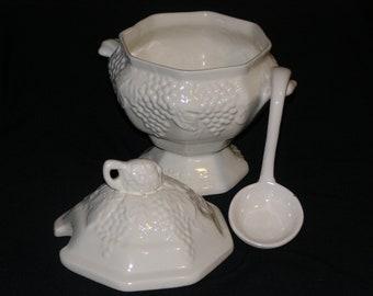 Vintage Gravy Tureen White with Ladle Grape Pattern Pedestal Style