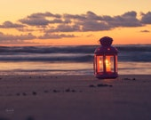Beach Photography - Nautical Home Decor Sunrise lantern candle dawn ocean sea art sand pink orange wall art photo print photos home decor