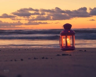 Beach Photography - Nautical Home Decor Sunrise lantern candle dawn ocean sea art sand pink orange wall art photo print photos home decor