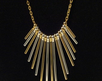 Necklace, Sunset Antiqued Coppper & Brass dangling Bars