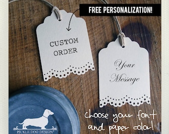 Lacey Single. Personalized Gift Tags (Set of 12) -- (Vintage-Style, Bridal Shower, Wedding Favor Tags, Baby Shower, Thank you, Custom Tags)