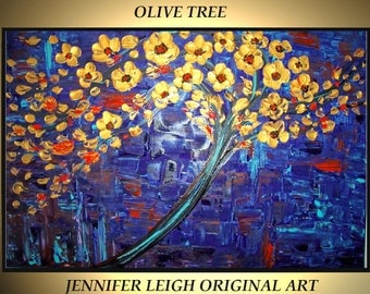 Original Large Abstract Painting Modern Contemporary Canvas Art Tree Purple Blue Gold OLIVE TREE 36x24  Palette Knife Texture Oil J.LEIGH