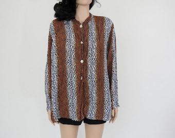 Vintage Leopard Print Blouse / Fall Shirt  M / L