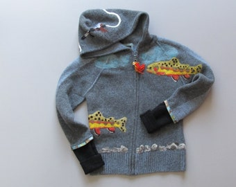 Children's recycled needle felted gray hooded sweater with fish