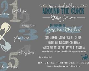 Baby Shower Invitation: DIY-Printable. Around-the-Clock Theme. Creative & Fun.