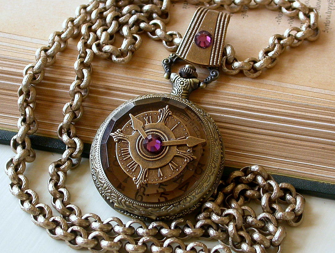 steampunk pocket watch pendant necklace antiqued by. Black Bedroom Furniture Sets. Home Design Ideas