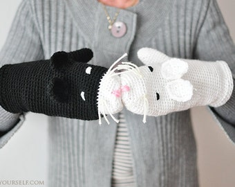 Cat Mittens Gloves Gift Wool Crochet Winter Accessories Cold Days Woman Girl Teens Cozy Black White Woodland