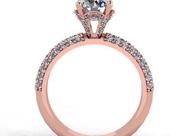 14k Rose Gold Diamond Engagement Ring with Moissenite Center  -Style 43RGDM