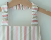 Girls Montessori Apron, Simple Kids' Apron, Preschool Apron, Striped Pastel Pink and Taupe, Fits 3-7