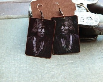 Native American inspired earrings Pueblo Edward S Curtis mixed media jewelry