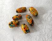Vintage Japanese Glass Beads Gold Foil Bumpy Texture SALE B2012134
