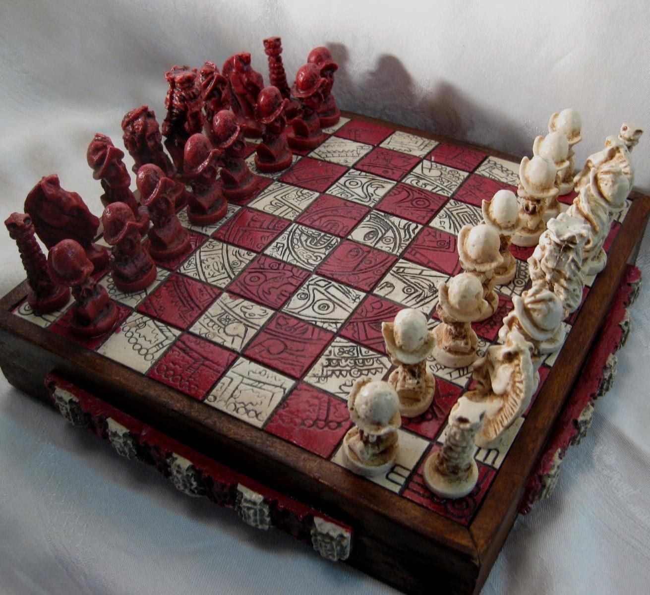 Chess Set Mayan Or Aztec Calendar Conquistador Novelty