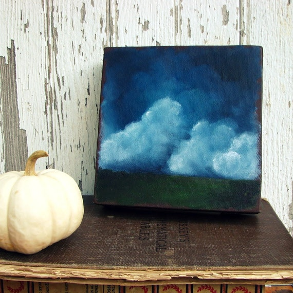 Original oil painting dark sky thunderstorm clouds landscape twilight  - Stormscape series fifteen