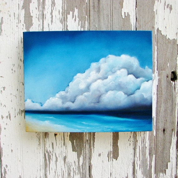 Seascape original oil painting thunderstorm tropical caribbean clouds big sky - Longing