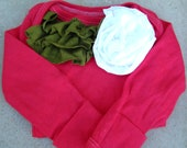 Christmas Red baby girls onesie with Green ruffles and a white ruffle flower size 6 months