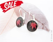 SALE - Black  earrings with red leaves - Nature themed jewelry