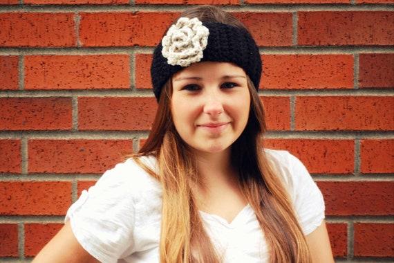 women's crochet ear warmer headband in black and oat with oversize flower