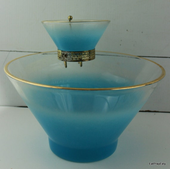Vintage Chip and Dip Bowl Set Electric Blue and Gold
