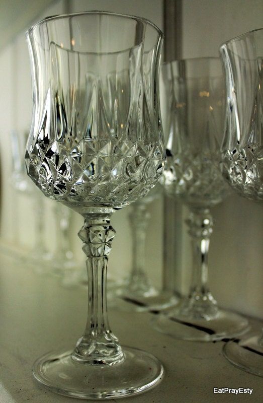 San Francisco Ts >> Vintage 1950 French Lead Crystal Wine Glasses Diamond Pattern