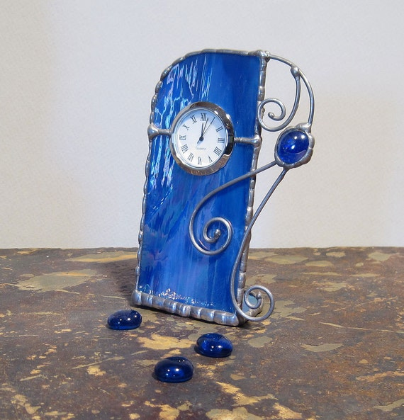 Unique Stained Glass Desk Clock, Cobalt Blue w/ Purple and Green Iridescence, Gift