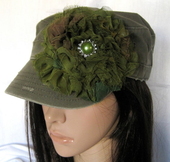 Olive Green Cadet Military Distressed Army Hat  with a  Variegated Green Chiffon Flower and Green and Rhinestone Accent