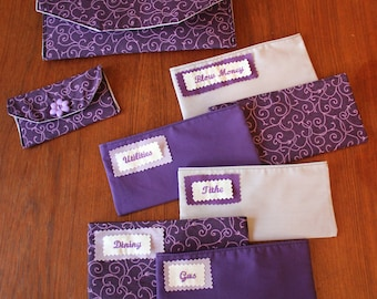 Fabric Cash Envelope budget system with EMBROIDERED LABELS - Purple Scroll