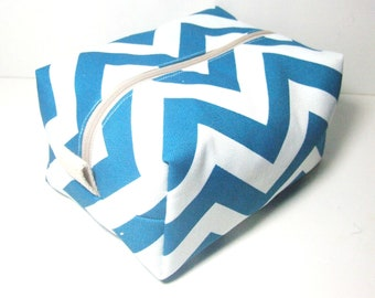 Blue Chevron Makeup Bag  - Cosmetic Pouch -  Lunch Bag - Wet Bag -Waterproof Bag